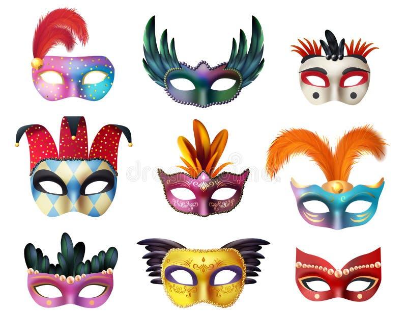Комплект лицевых щитков гермошлема масленицы Masquerade реалистический иллюстрация вектора