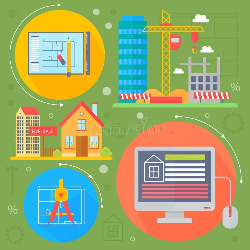 Комплект идеи проекта недвижимости вектора с продажей и квартира рынка проката ищут infographics значков улучшений плоское бесплатная иллюстрация