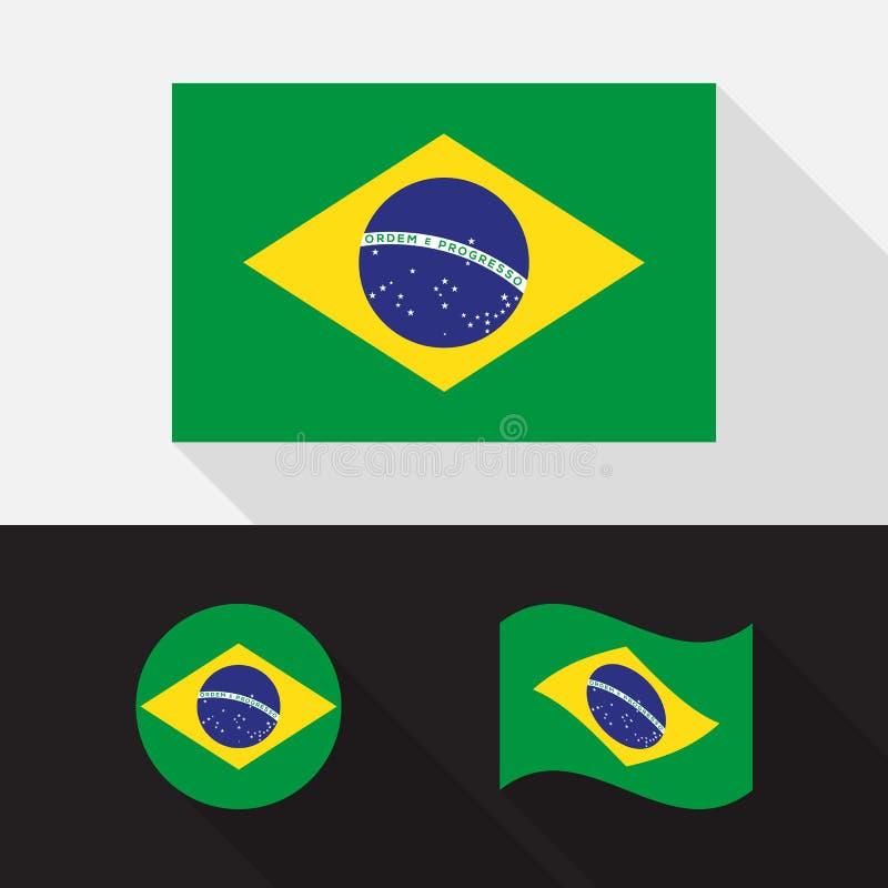 Комплект иллюстрации вектора дизайна флага Бразилии плоской иллюстрация штока
