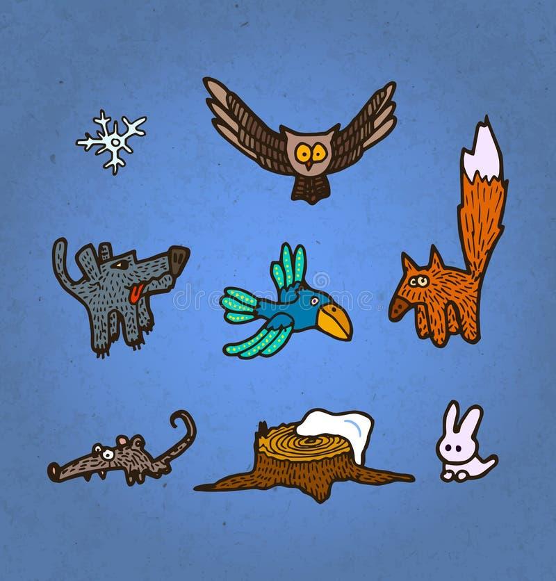 Комплект иллюстрации вектора нарисованных рукой животных и птиц леса иллюстрация штока