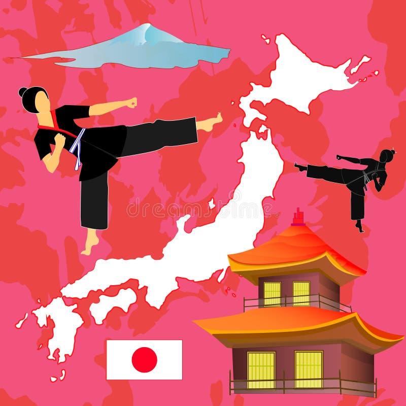 Комплект иллюстрации вектора логотипа символов Japaneese Силуэт элементов Infographic изолированный на розовой предпосылке иллюстрация вектора