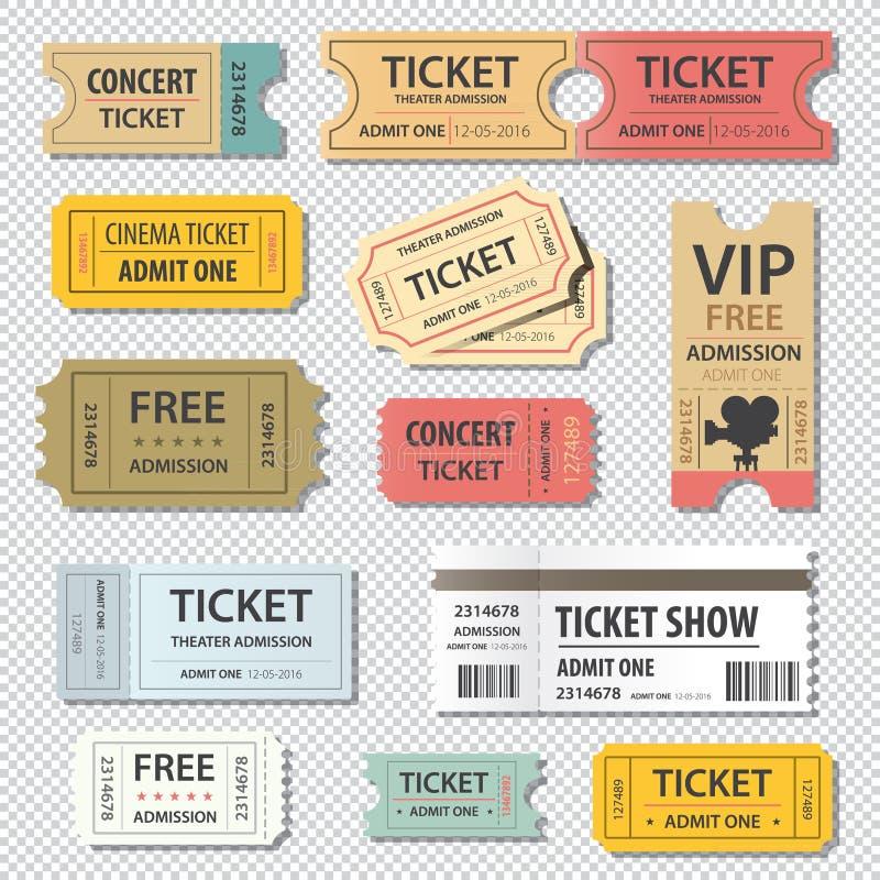 Комплект иллюстрации вектора различного билета выставки кино иллюстрация штока