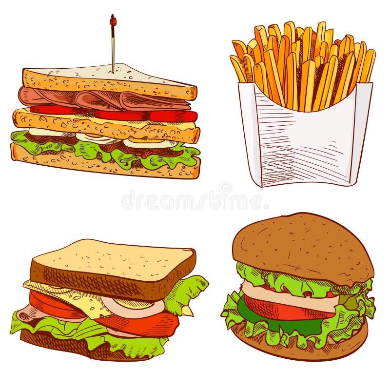 Комплект иллюстрации ВЕКТОРА фаст-фуда нарисованной рукой на голубой предпосылке Фраи, сандвич, бургер иллюстрация вектора