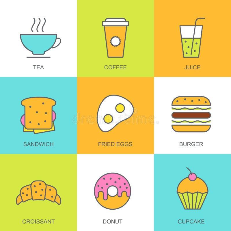 Комплект иллюстрации еды вектора плоской Значки завтрака multicolor бесплатная иллюстрация