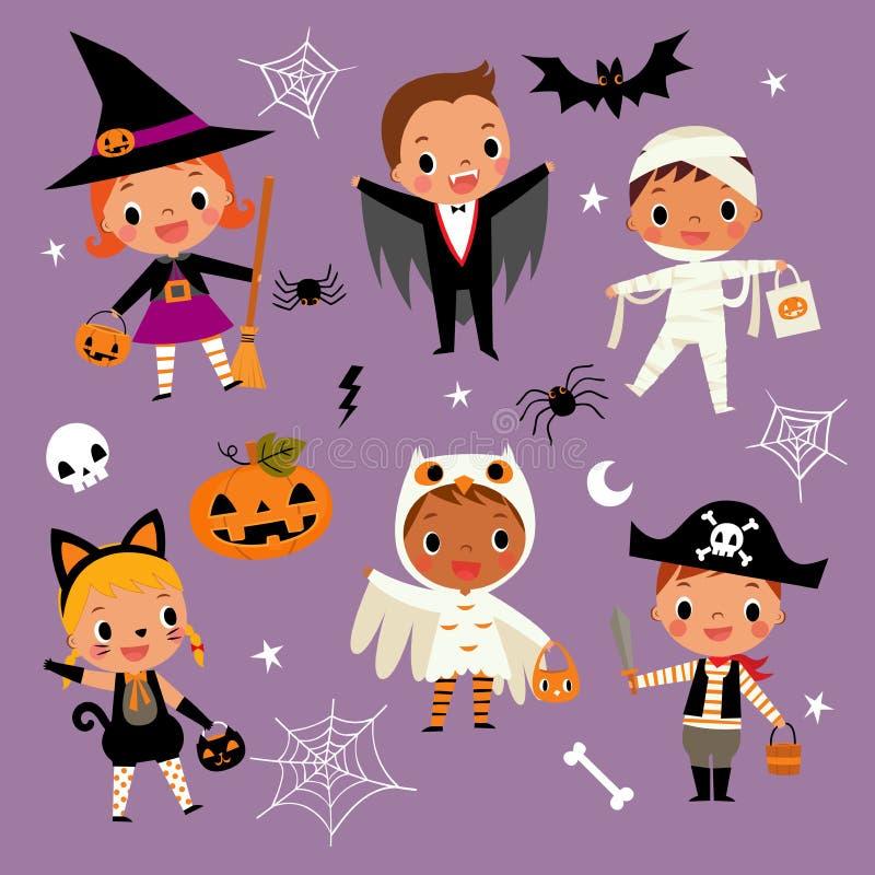 Комплект иллюстрации милых счастливых детей шаржа в красочной зале иллюстрация вектора