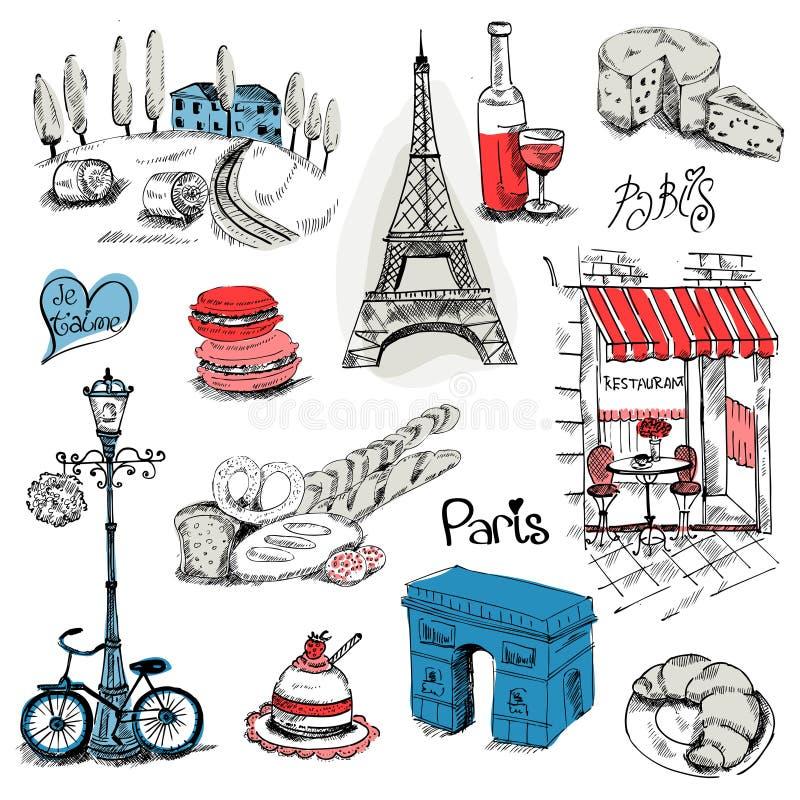 Комплект иллюстрации Парижа иллюстрация вектора