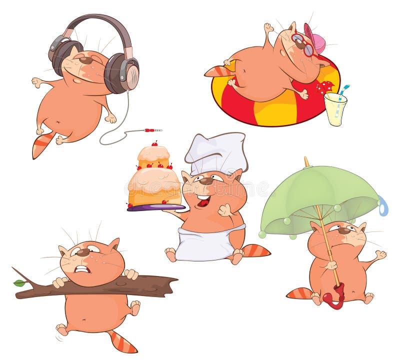 Комплект иллюстрации шаржа Милые коты для вас дизайн иллюстрация вектора