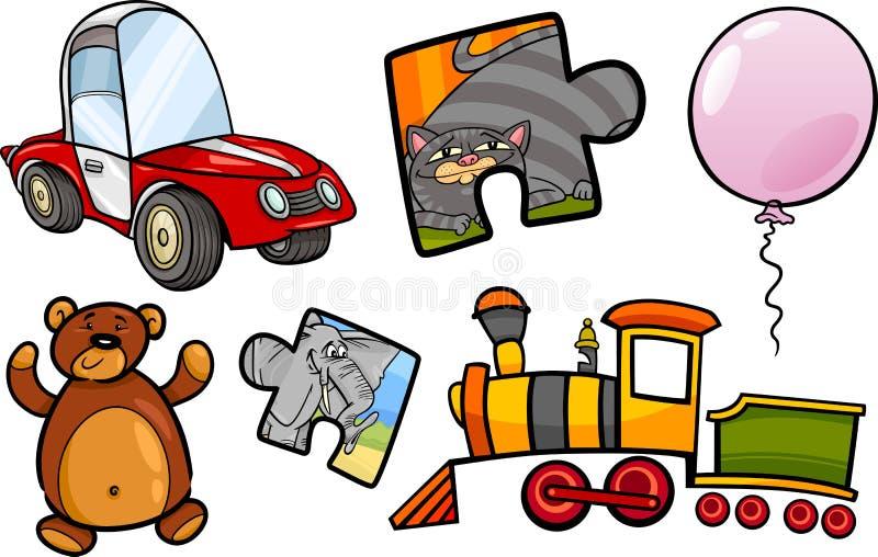 Комплект иллюстрации шаржа объектов игрушек бесплатная иллюстрация