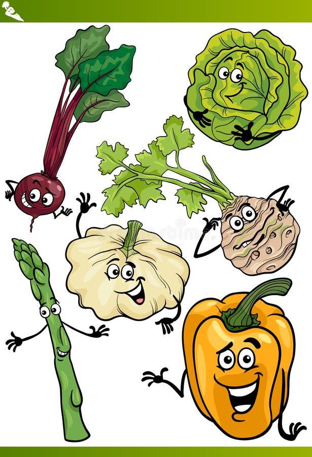 Комплект иллюстрации шаржа овощей иллюстрация вектора
