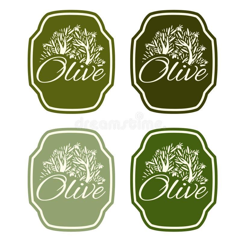Комплект иллюстрации ярлыка с оливковым деревом иллюстрация вектора