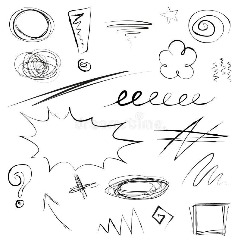 Комплект иллюстрации scribbles бесплатная иллюстрация