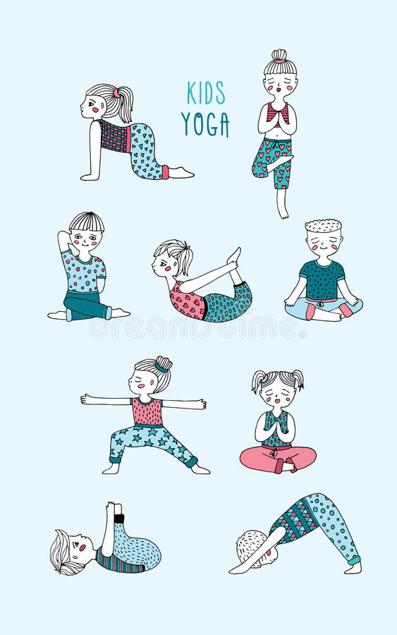Комплект йоги детей Дети выполняют тренировки, asanas, позиции, раздумье Нарисованная рукой иллюстрация вектора бесплатная иллюстрация