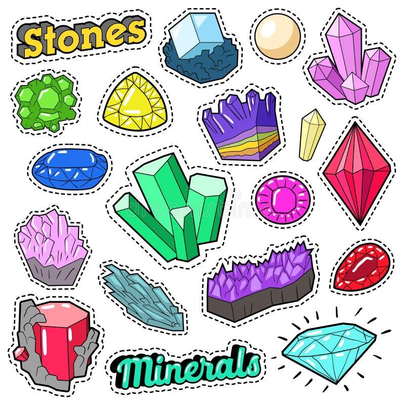 Комплект камней и минералов драгоценностей красочный для стикеров, значков, заплат иллюстрация штока