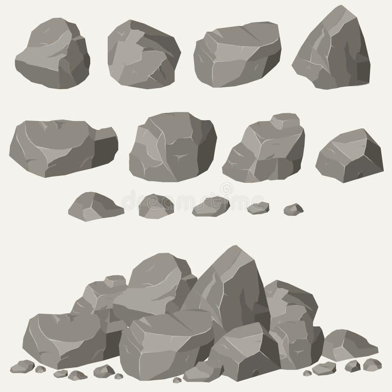 Комплект камня утеса иллюстрация вектора