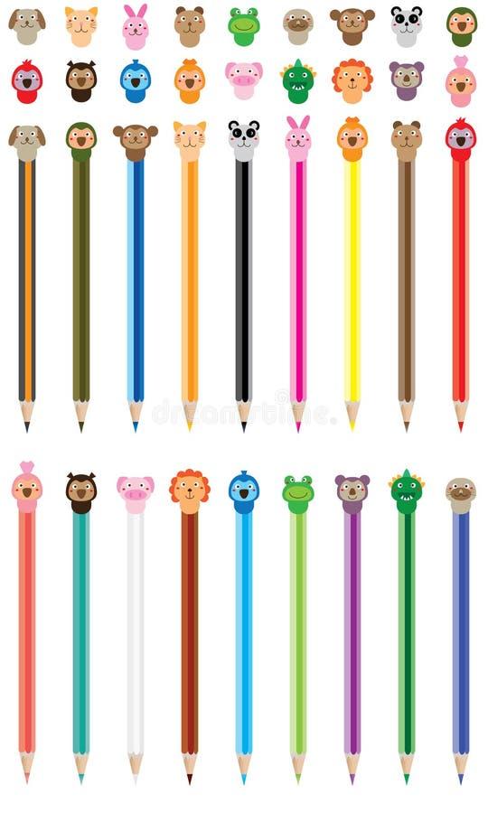 Комплект карандаша цвета крышки шаржа милый бесплатная иллюстрация