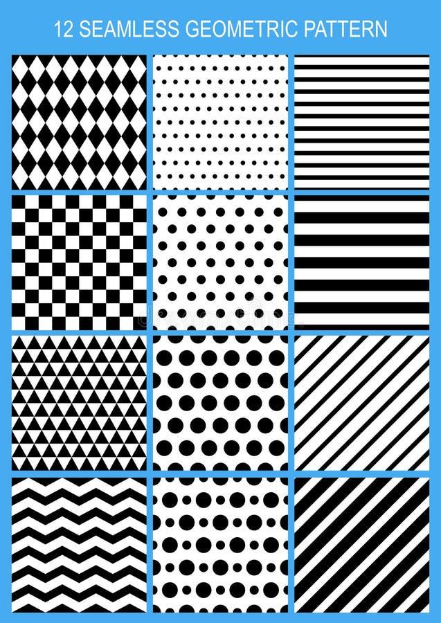 Комплект картины вектора безшовной геометрической Черно-белая нашивка иллюстрация вектора