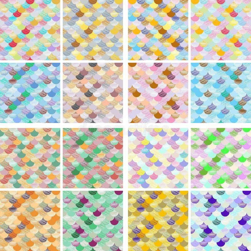 Комплект картины геометрической абстрактной волны colorfull безшовной Ткань Предпосылка вектора масштабов иллюстрация вектора
