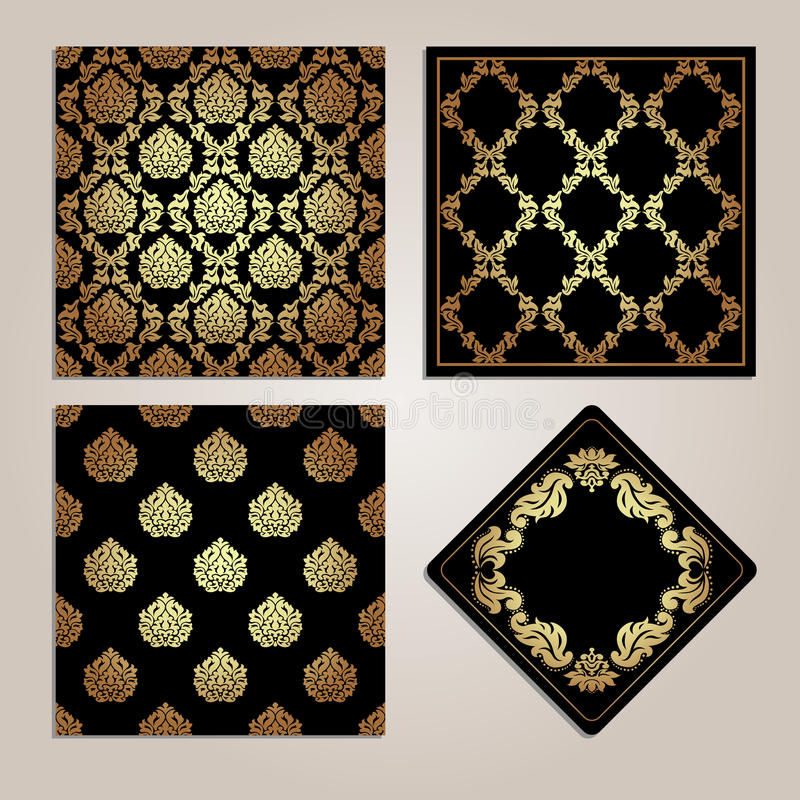 Комплект картины и рамки золота безшовных Мотивы штофа иллюстрация вектора