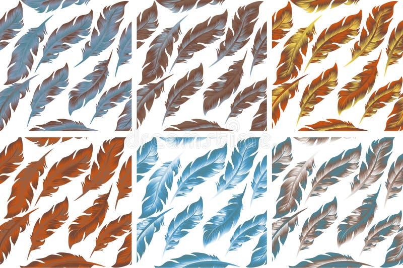 Комплект картины птицы пер безшовный Ретро, стиль doodle Предпосылка пера бесконечная, текстура, фон вектор иллюстрация штока
