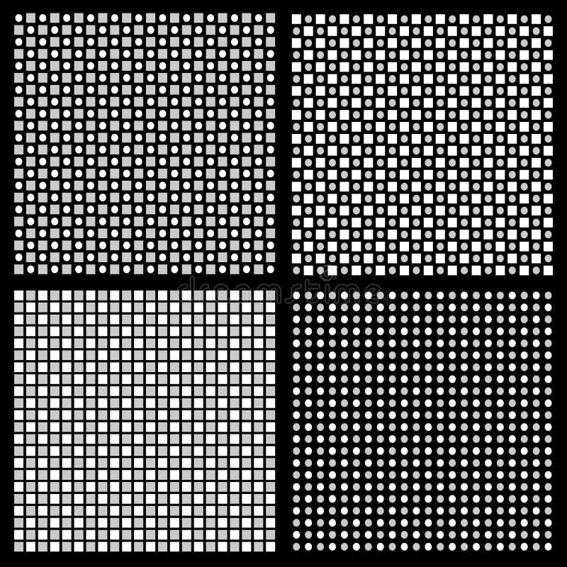 Комплект картины 4 серых шкал регулярн с квадратами и кругами бесплатная иллюстрация