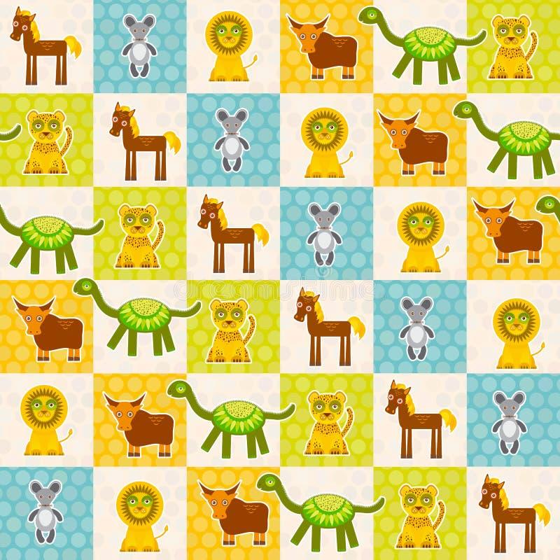 Комплект картины смешной лошади тигра динозавра коровы льва мыши животных безшовной Предпосылка точки польки с зеленым голубым ор иллюстрация штока