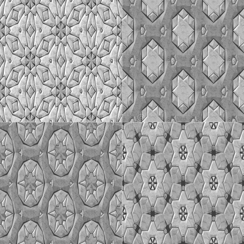 Комплект картины caleidoscopic мозаики 4 орнаментальной безшовной иллюстрация вектора