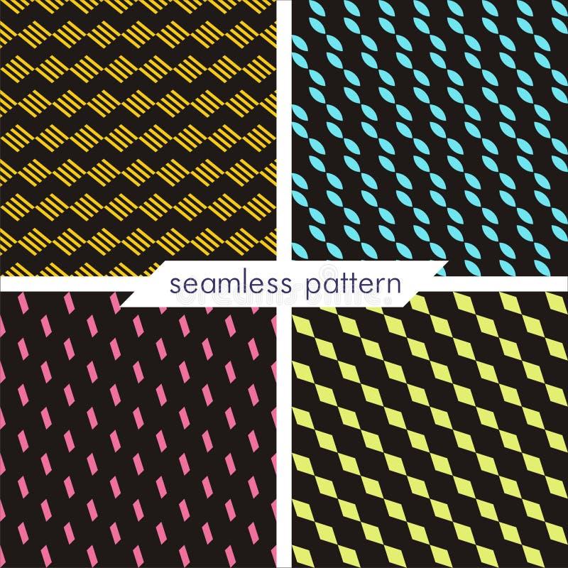 Комплект 4 картин вектора безшовных геометрических Винтажное textur стоковое изображение rf