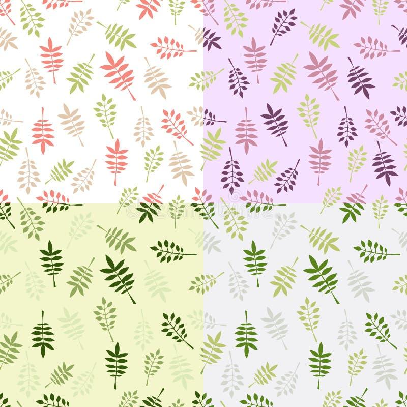 Комплект 4 картин винтажного вектора безшовных с декоративными листьями иллюстрация вектора