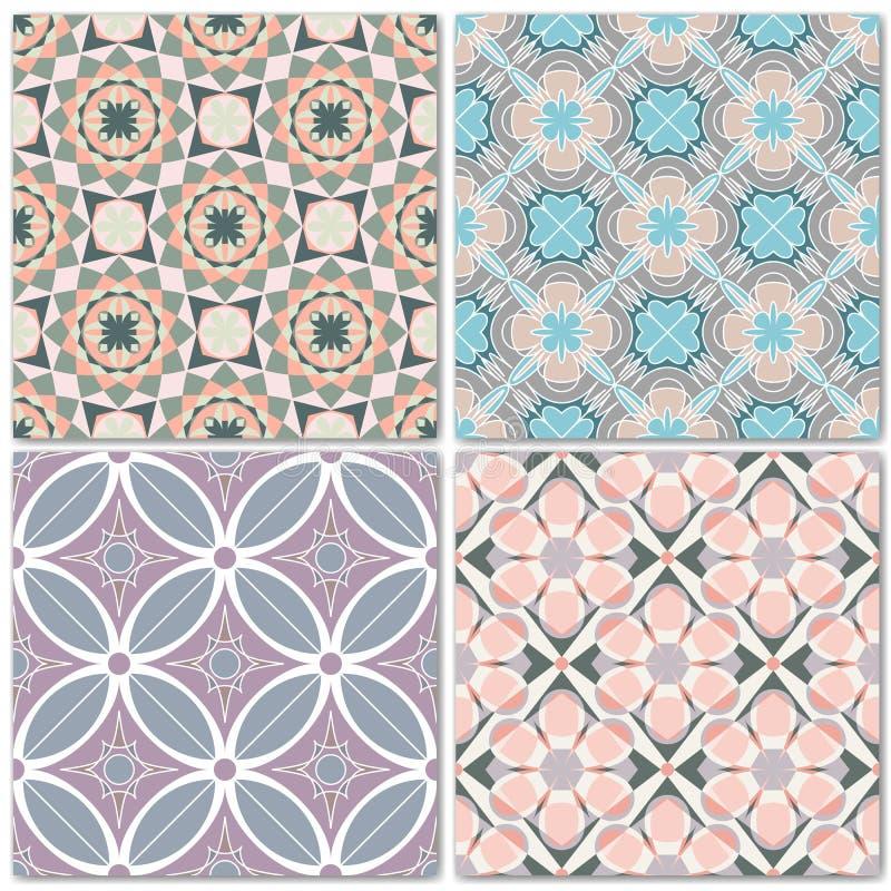 Комплект 4 картин декоративной мозаики безшовных иллюстрация штока