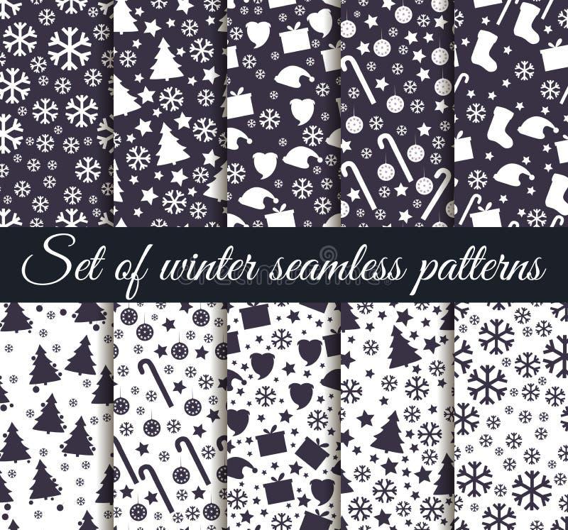 Комплект картин зимы безшовных с снежинками, рождественскими елками и игрушками рождество делает по образцу безшовное иллюстрация вектора