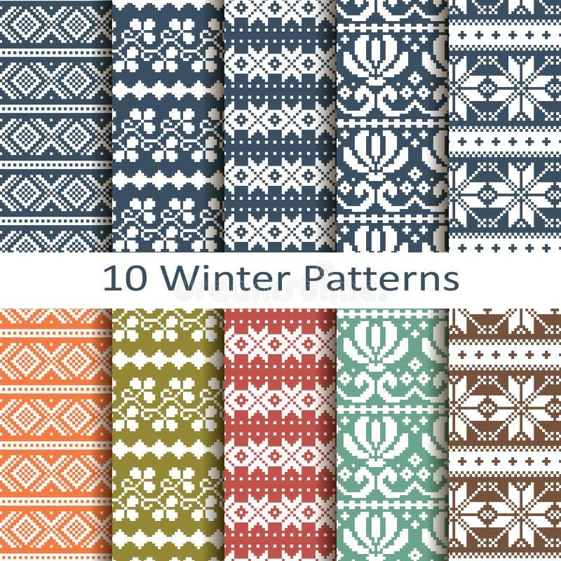 Комплект 10 картин зимы иллюстрация вектора