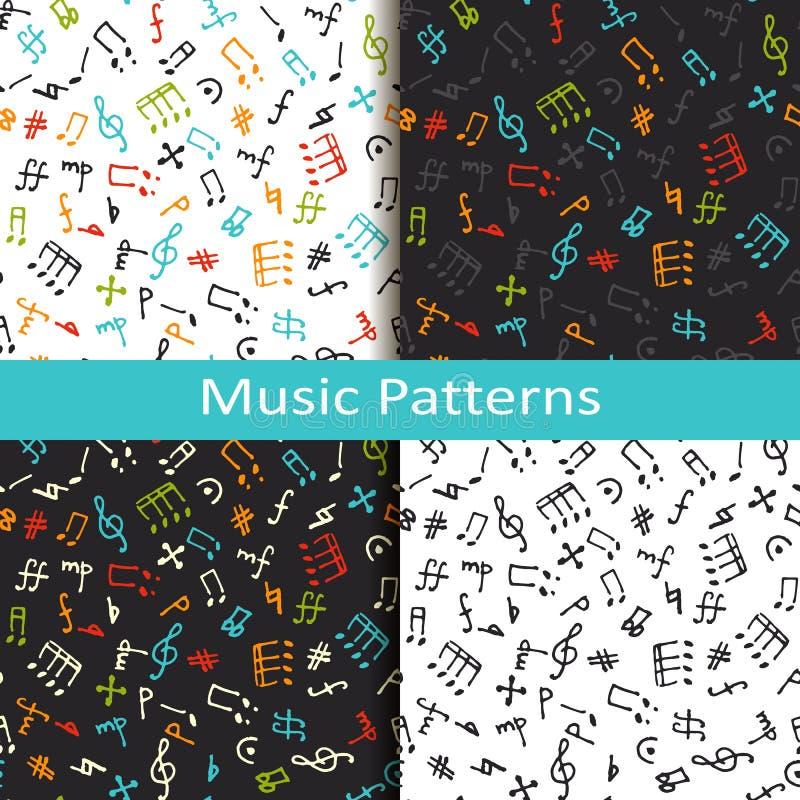 Комплект 4 картин музыки с различными музыкальными символами иллюстрация вектора
