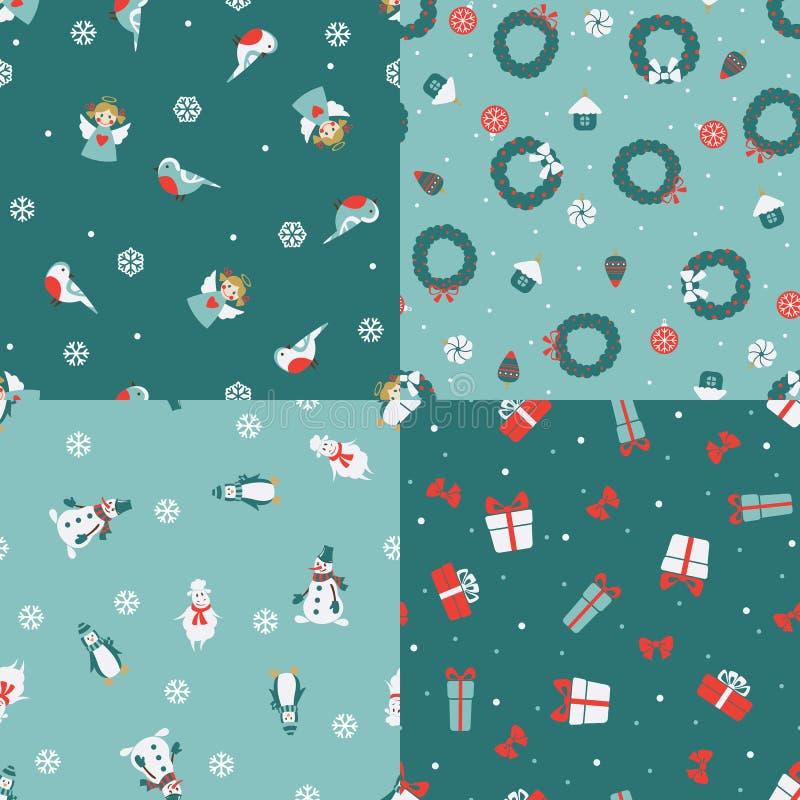 Комплект 4 картин рождества безшовных иллюстрация вектора