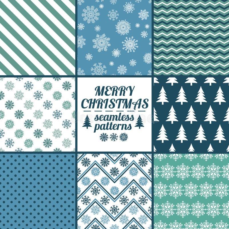 Комплект картин рождества и Нового Года безшовных иллюстрация штока