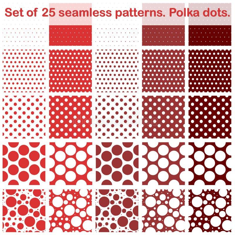 Комплект 20 картин точек польки fives безшовных красные тени Все в отдельном слое желтый цвет обоев вектора уравновешивания rac п стоковые фото