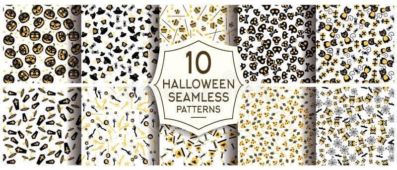 Комплект 10 картин хеллоуина безшовных иллюстрация вектора