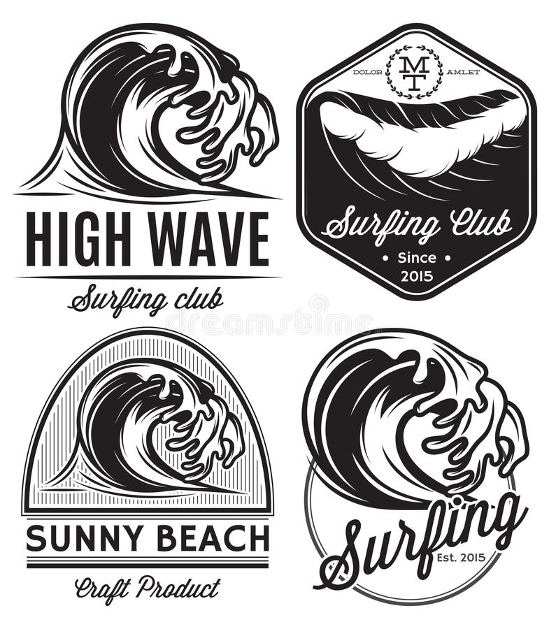 Комплект картин для логотипов на теме воды, занимаясь серфингом, океана дизайна, моря бесплатная иллюстрация