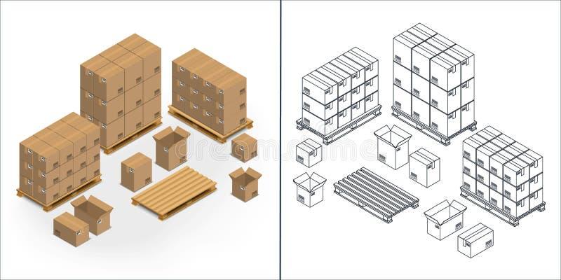 Комплект картонных коробок значков бесплатная иллюстрация