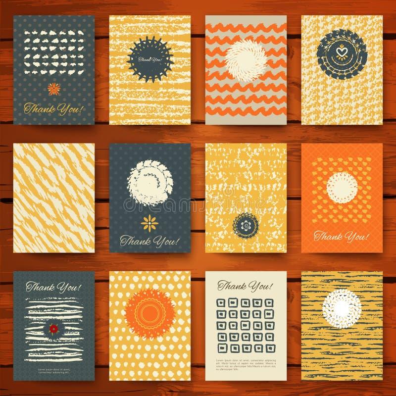 Комплект карточек года сбора винограда grunge бесплатная иллюстрация