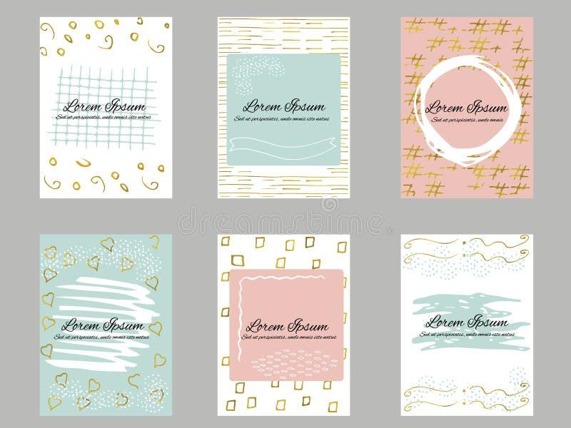 Комплект карточек золота 6, сини, розовых и белых визитной карточки шаблона или подарка иллюстрация вектора