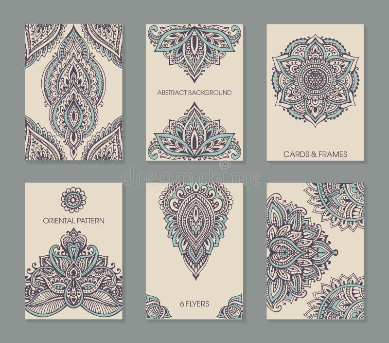 Комплект 6 карточек или рогулек с абстрактным орнаментом mehndi хны иллюстрация штока