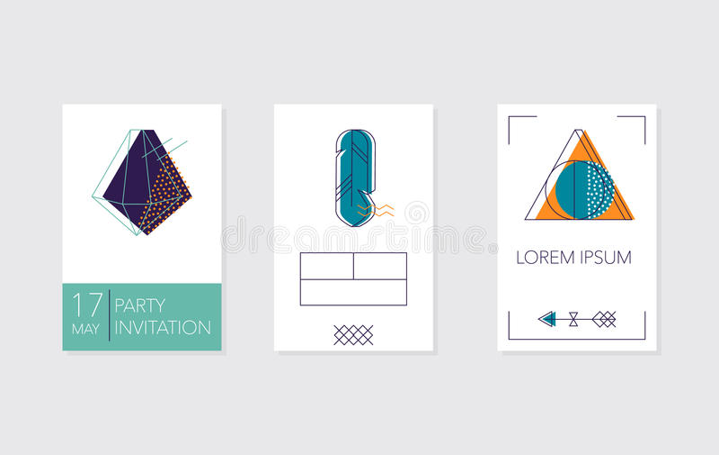 Комплект карточек и плакатов с кристаллами, пером бесплатная иллюстрация