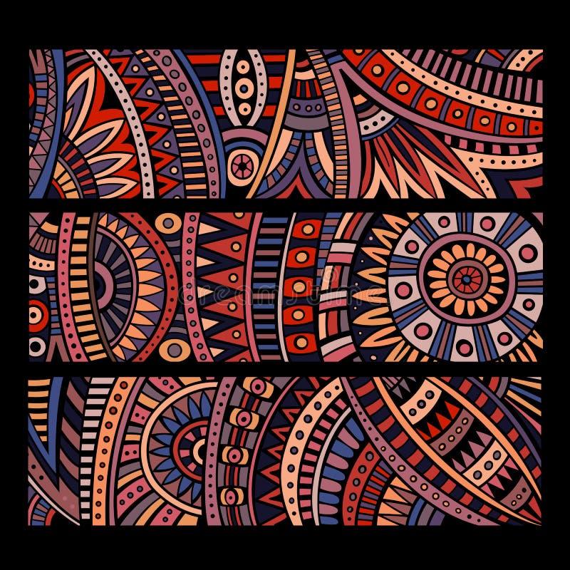 Комплект карточек картины абстрактного вектора этнический