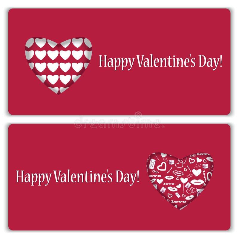Комплект карточек подарка на день валентинки иллюстрация вектора