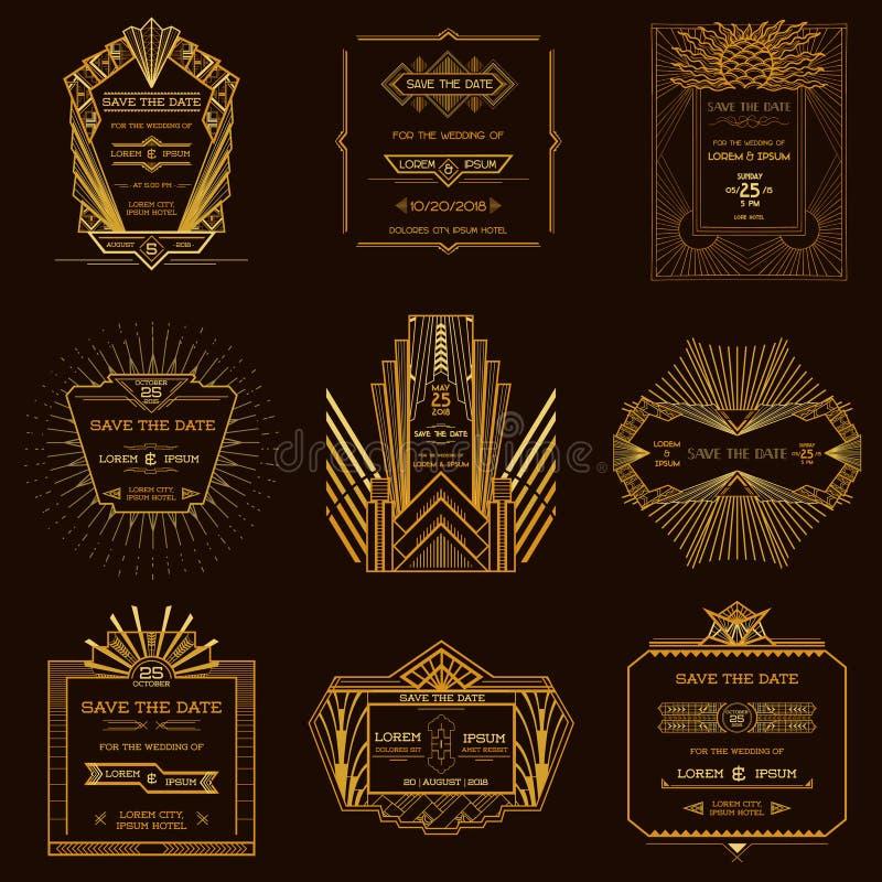 Комплект карточек приглашения свадьбы - стиля Арт Деко иллюстрация вектора