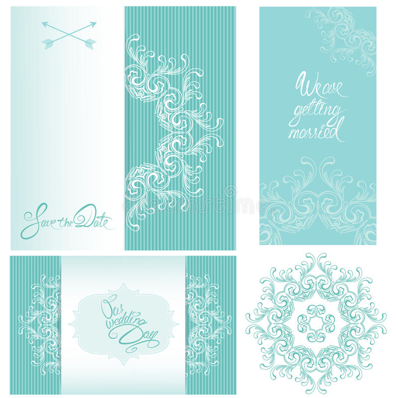 Комплект карточек приглашения свадьбы с флористическими элементами иллюстрация штока