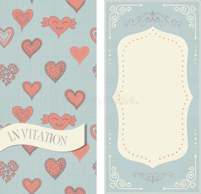 Комплект карточек приглашения с сердцами doodle иллюстрация штока