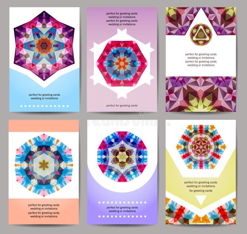 Комплект карточек, рогулька, шаблоны дизайна брошюры иллюстрация штока