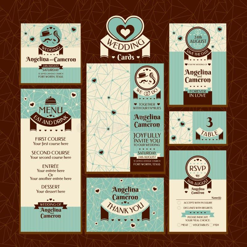 Комплект карточек свадьбы иллюстрация вектора