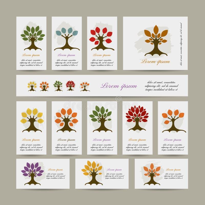 Комплект карточек с деревьями сезона для вашего дизайна иллюстрация вектора